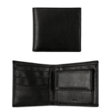 Will's Vegan Store Men's Vegan Leather Billfold Coin Wallet | Black