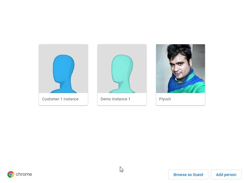 Add Person's window in Chrome