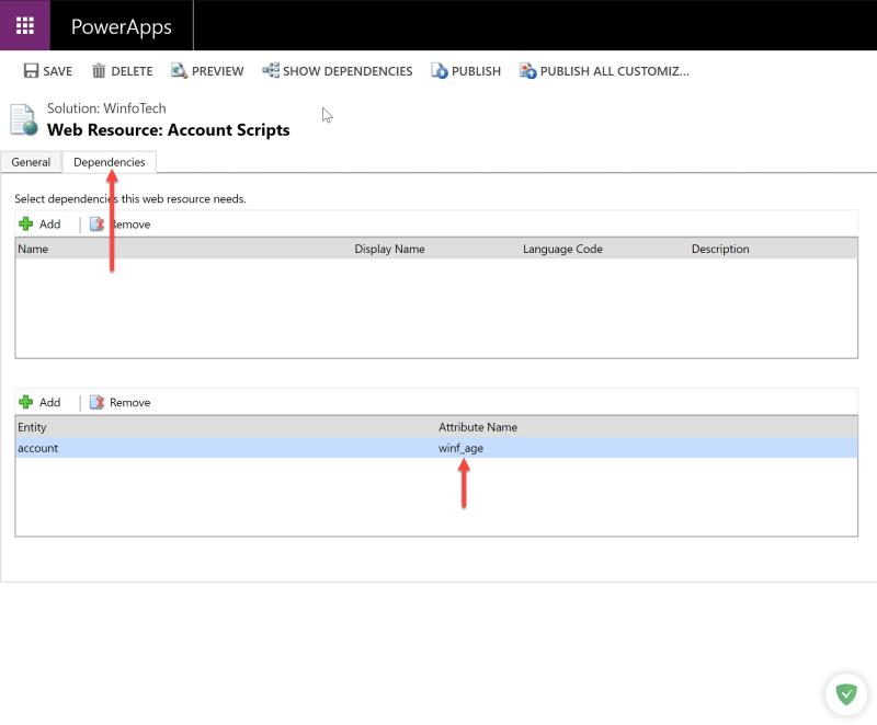 JavaScript Web Resource dependency injection screen