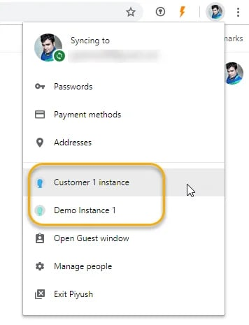 Switch Profiles in Chrome