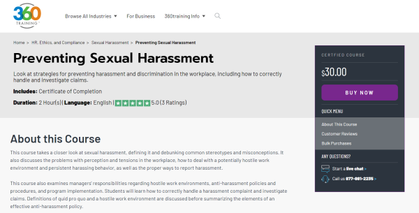 Sexual Harassment Training Course - 360training