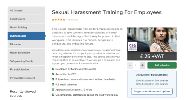 Sexual Harassment Training Course - High Speed Training