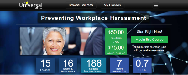 Sexual Harassment Training Course - Universal Class