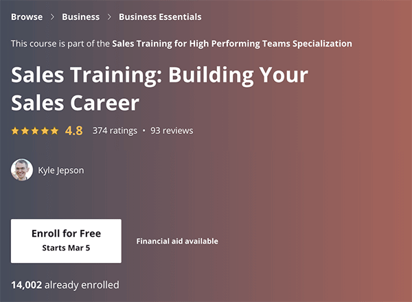 Sales Course - Building your Sales Career