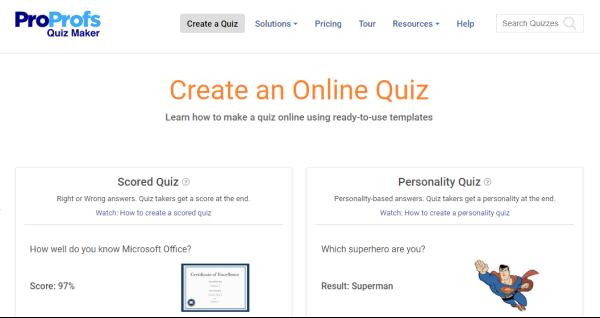 Online Quiz Creator - ProProfs