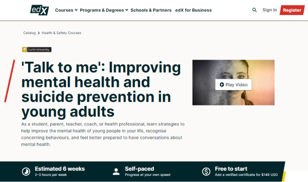 edX Mental Health Course - Talk to me