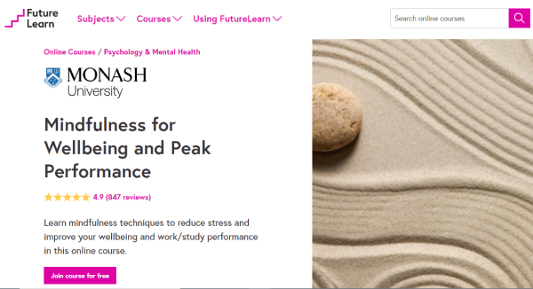 Future Learn Mental Health Course - Mindfulness for Wellbeing and Peak Performance