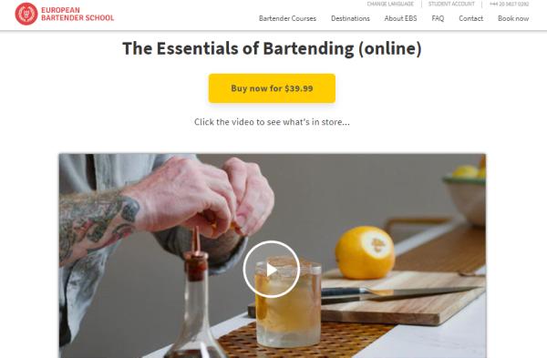 EBS Bar Training Course - The Essentials of Bartending