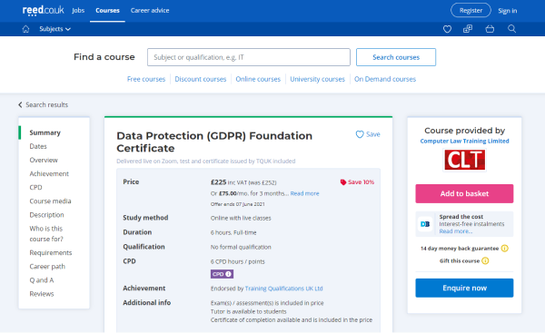 CLT GDPR Compliance Training Course - Data Protection (GDPR) Foundation Certificate