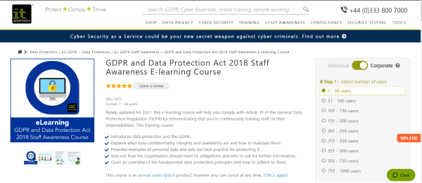 IT Governance GDPR Compliance Training Course - GDPR and Data Protection Act 2018