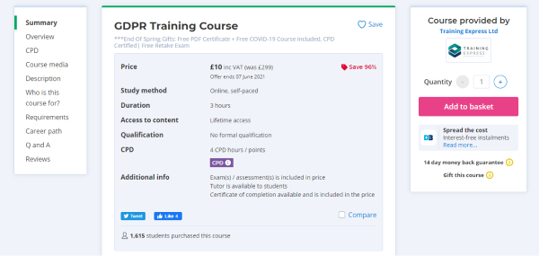 Training Express GDPR Compliance Training Course - GDPR Training Course