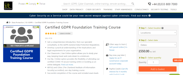 IT Governance GDPR Compliance Training Course - Certified GDPR Foundation