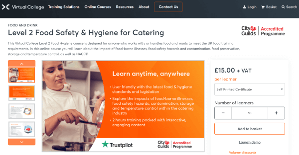 Virtual College Food Hygiene Online Training Course - Level 2 Food Safety & Hygiene for Catering