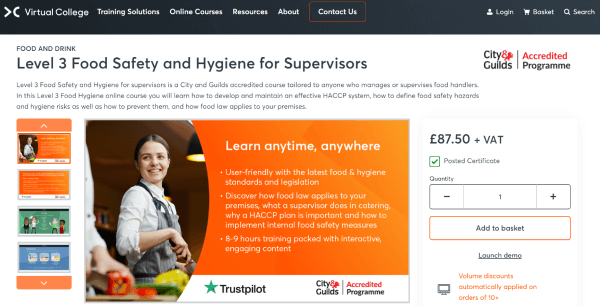 Virtual College Food Hygiene Online Training Course - Level 3 Food Safety & Hygiene for Supervisors