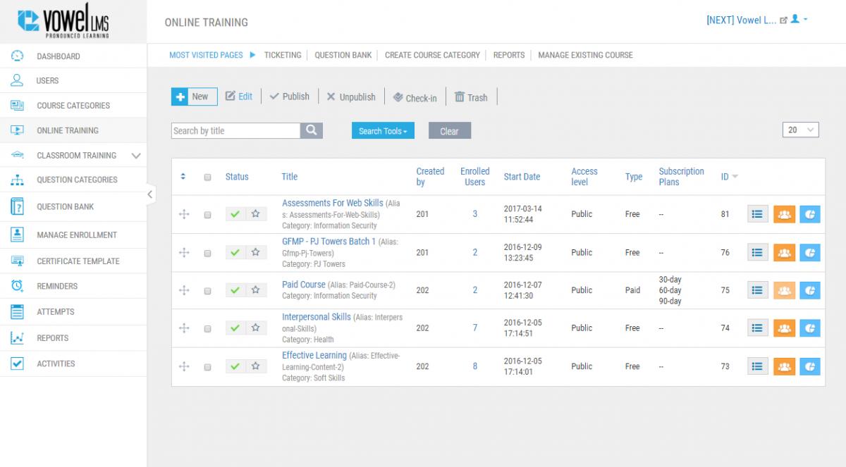 Enterprise Learning Management System - VowelLMS