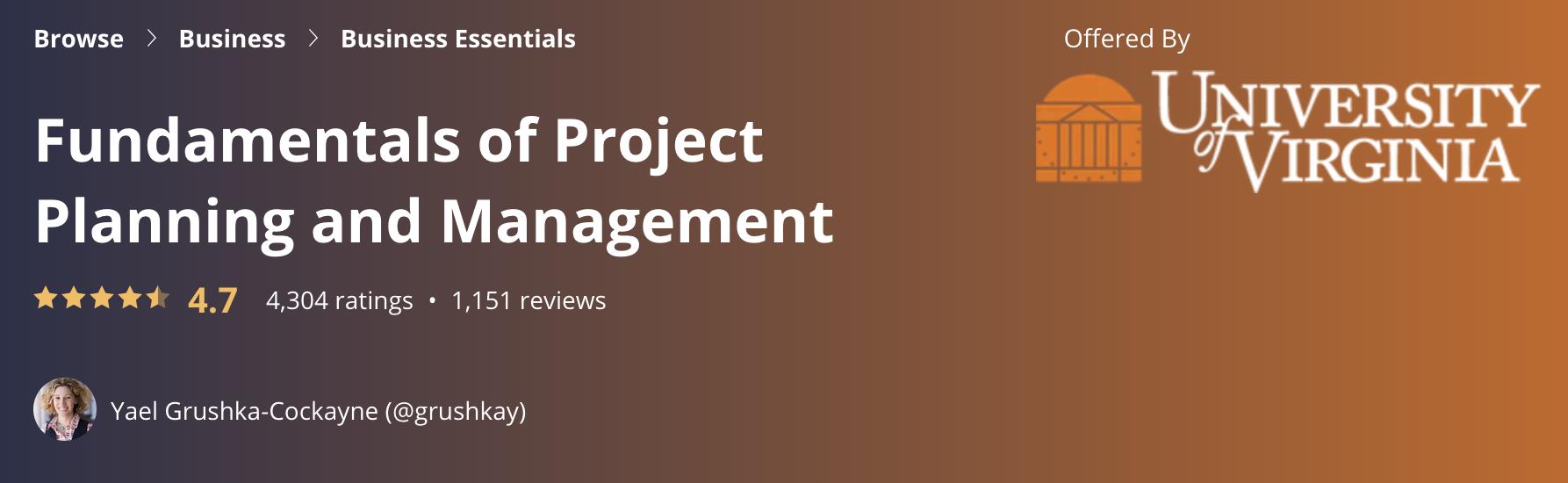 Project Management Training Free - University of Virginia