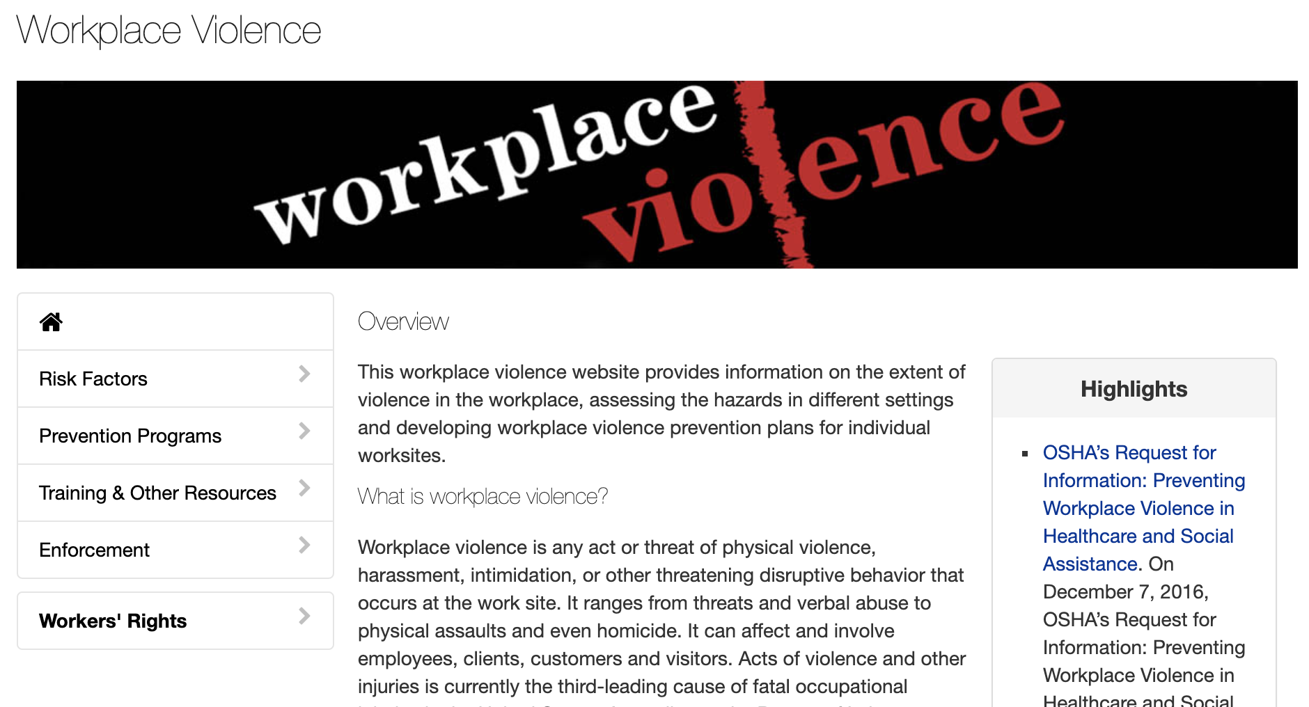 Workplace Violence Prevention Training Course - What is Workplace Violence? From OSHA.