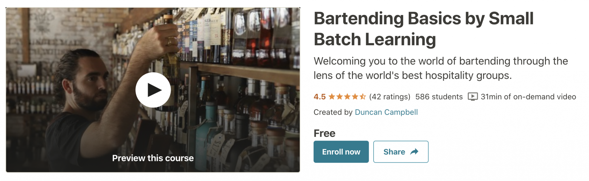 Bartending Training - Bartending Basics for Small Batch Learning (Udemy)