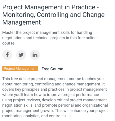 Project Management Training Free - University of Wisconsin