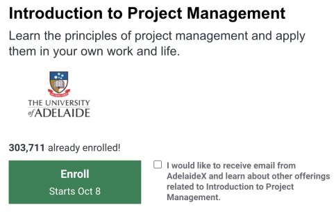 Project Management Training Free - University of Adelaide
