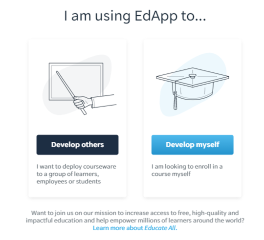 How to develop online training courses with EdApp sign up