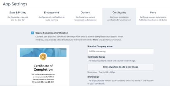 EdAPp course completion certification