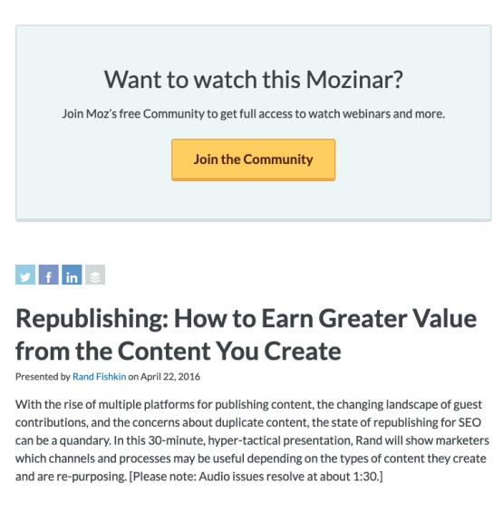 Republishing Free Webinar