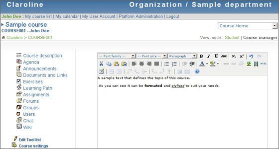 Free Learning Software - Claroline