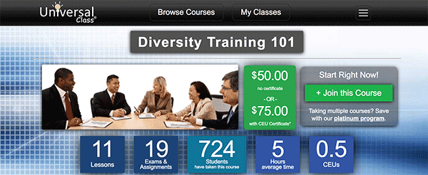 Diversity Training Course - UniversalClass