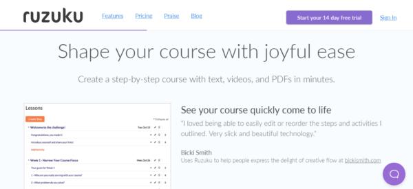Ruzuku Online Course Software