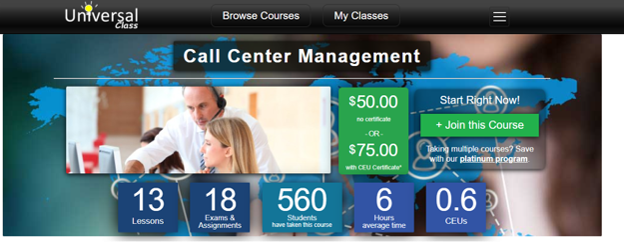 Call Center Training Courses Free - Universal Class