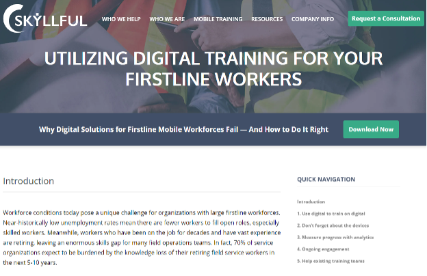 Skyllful first line training solutions