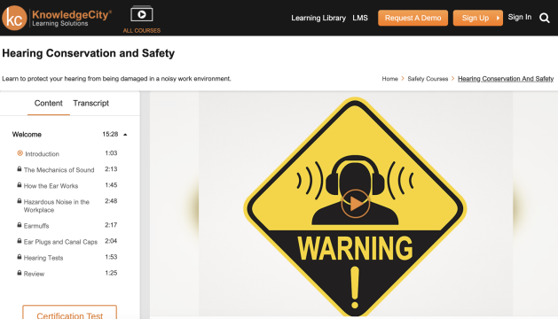 Knowledge City LMS Site Safety Training