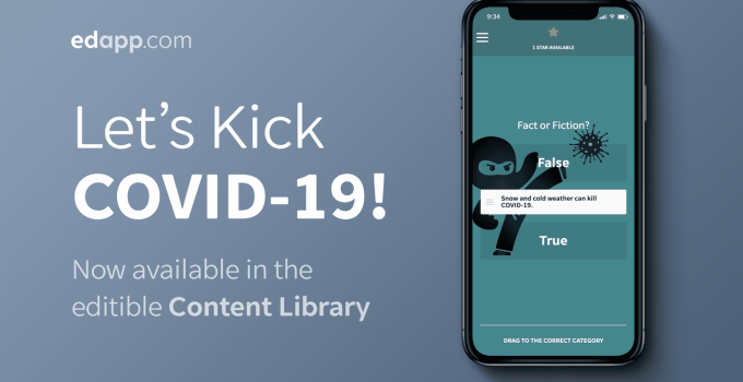 Let's Kick COVID-19 course added to EdApp's Content Library!