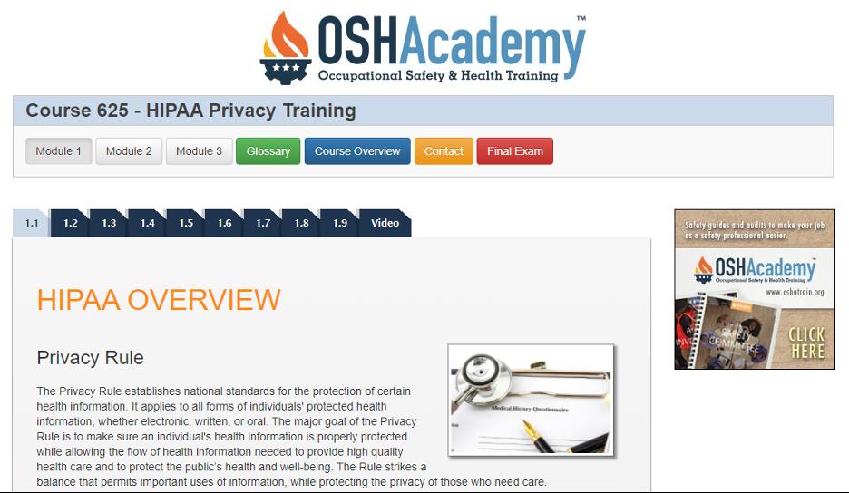 Free HIPAA Training - OSH Academy