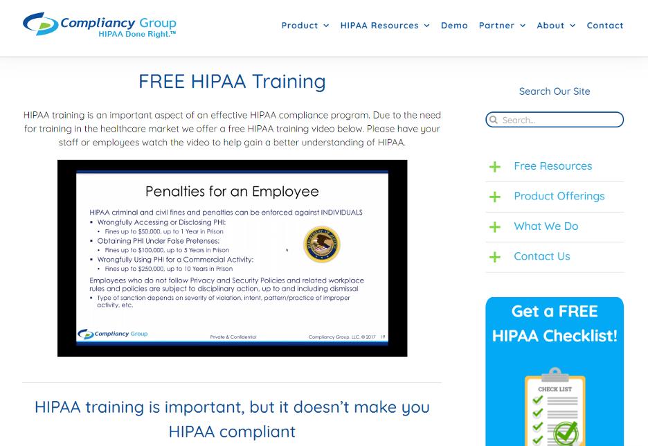 Free HIPAA Training - Compliancy Group