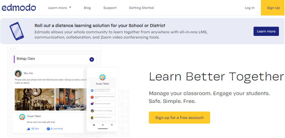 Edmodo Learning Management System example