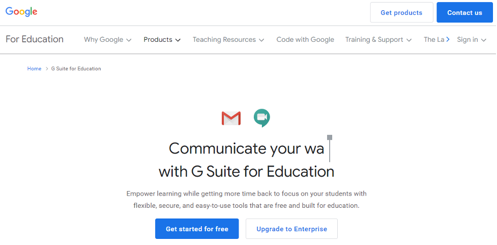 Social Learning Platform Example - G Suite for Education
