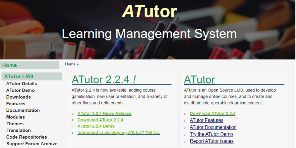 ATutor Learning Management System example