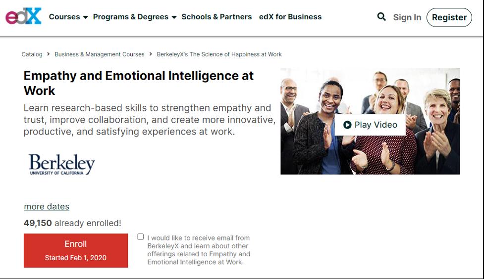 Emotional Intelligence Coaching Certification Program - Empathy and Emotional Intelligence at Work on edX