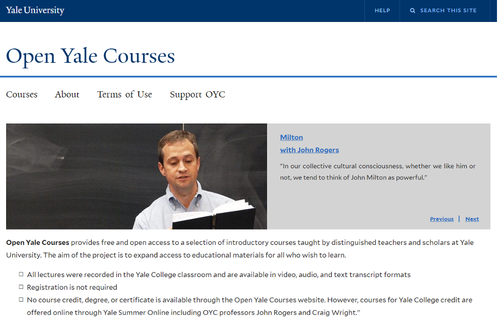 Online Training Resource - Open Yale Courses