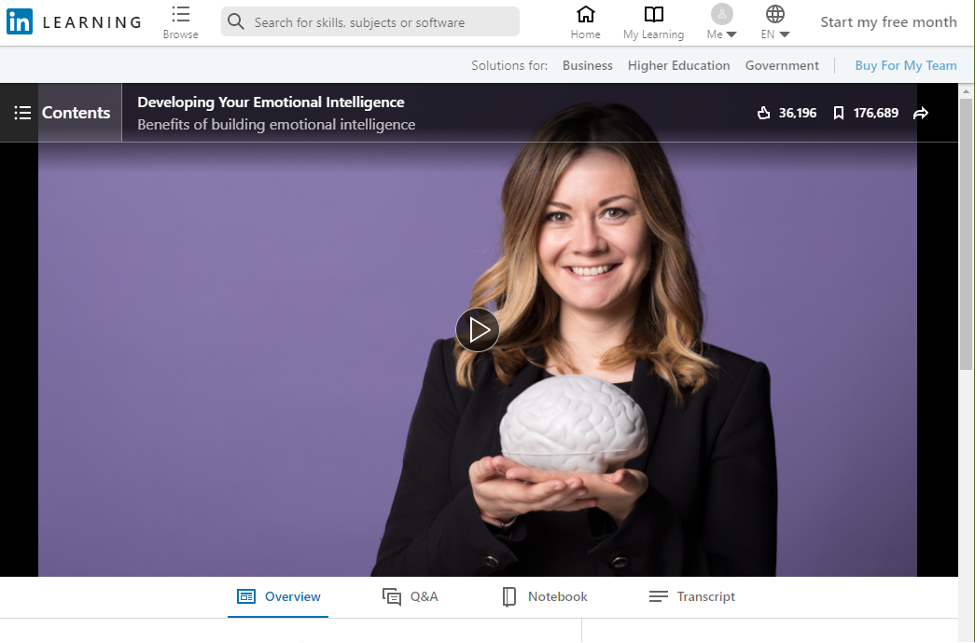 Free Emotional Intelligence Course - Developing Your Emotional Intelligence on LinkedIn Learning