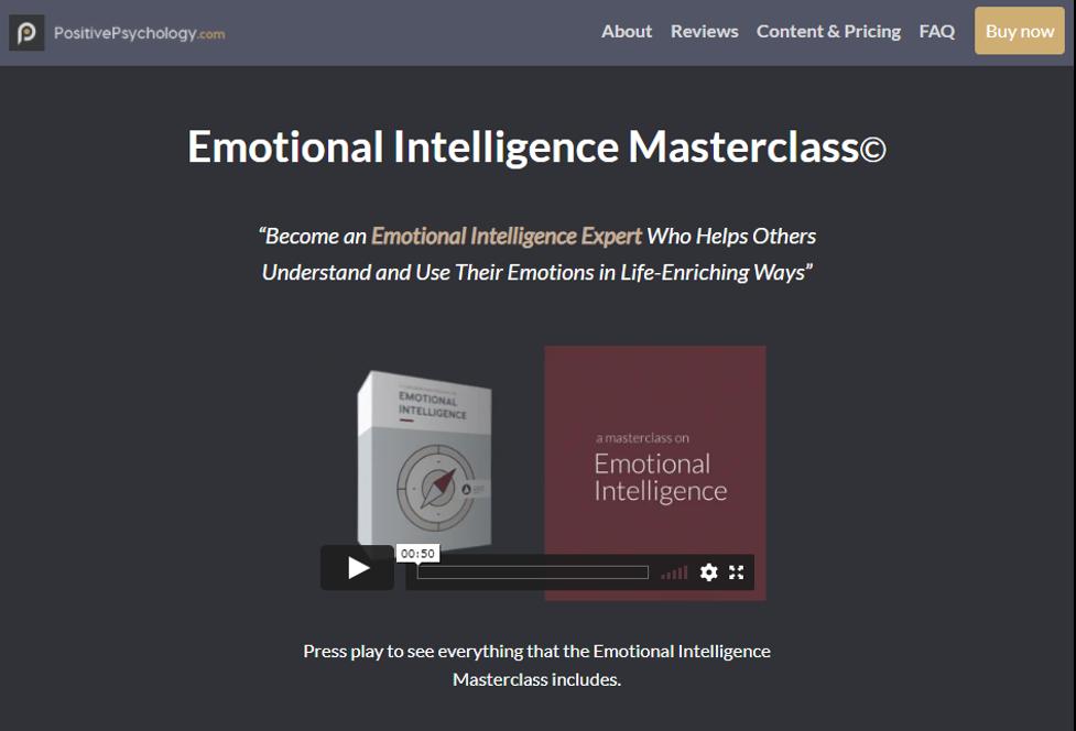 Emotional Intelligence Training Content - Emotional Intelligence Masterclass by Positive Psychology
