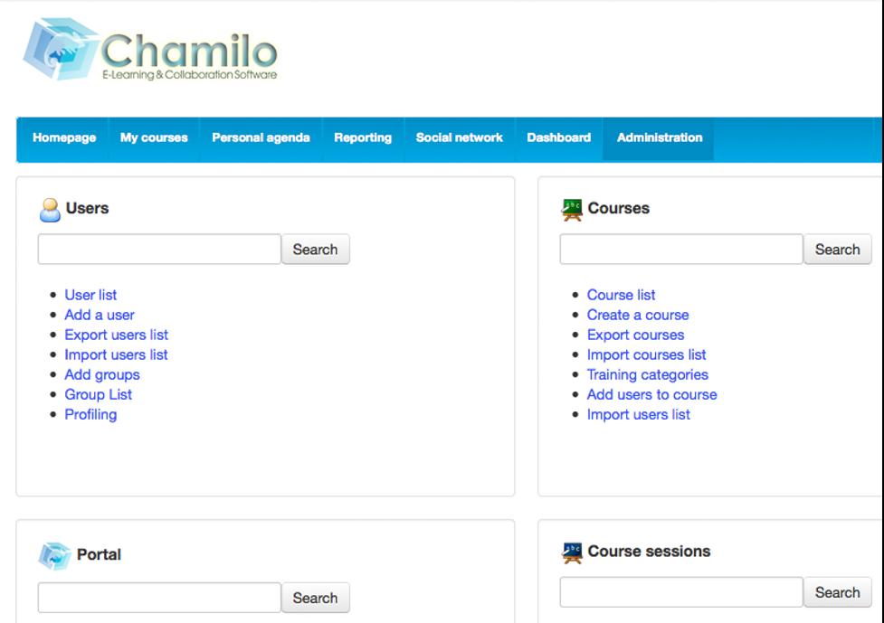 Chamilo LMS Dashboard