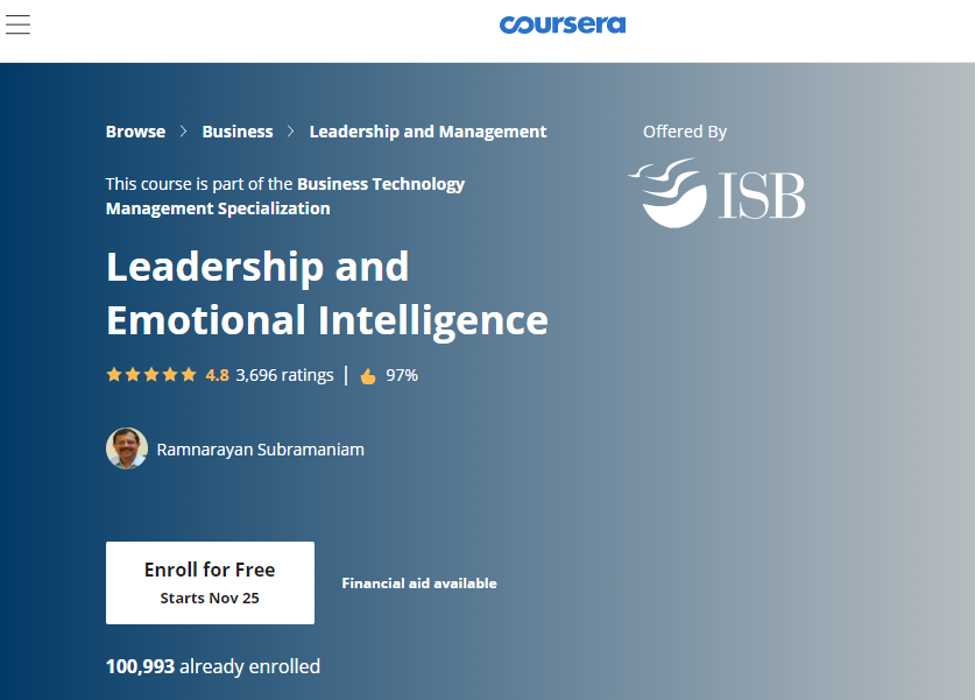Emotional Intelligence Certification - Leadership and Emotional Intelligence on Coursera