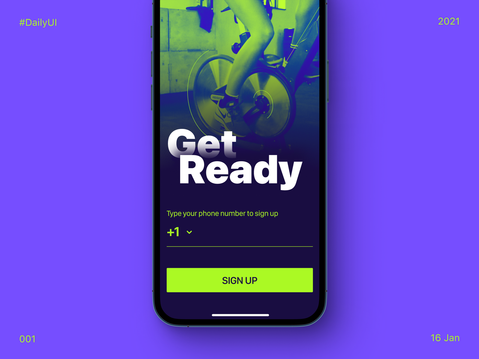 Sign up UI screen for online spinning class