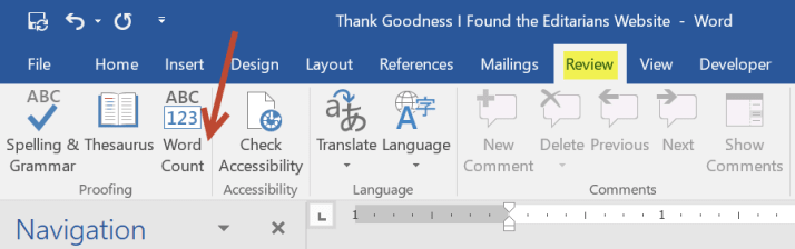 Word Count Icon in MS Word Ribbon