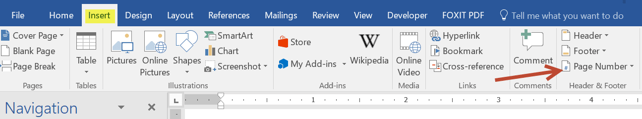 Image showing how to insert page number in word.