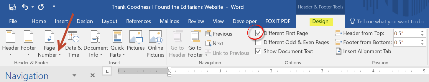 Image: showing the header and footer tab in MS Word.