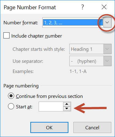 Image: showing page number dialog in Microsoft Word